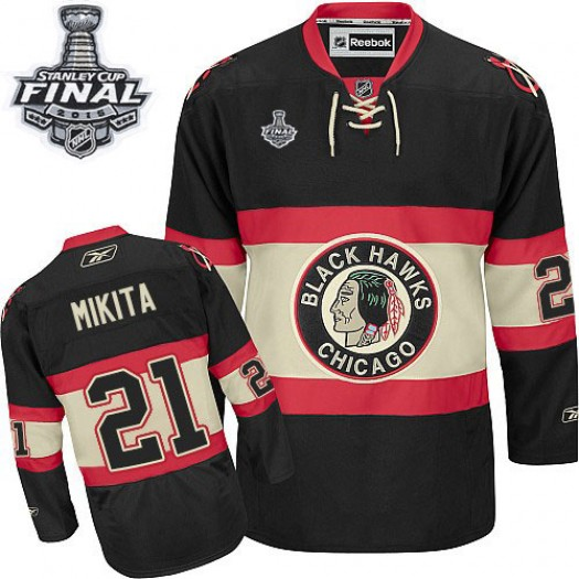 Stan Mikita Chicago Blackhawks Men's Reebok Authentic Black New Third 2015 Stanley Cup Patch Jersey