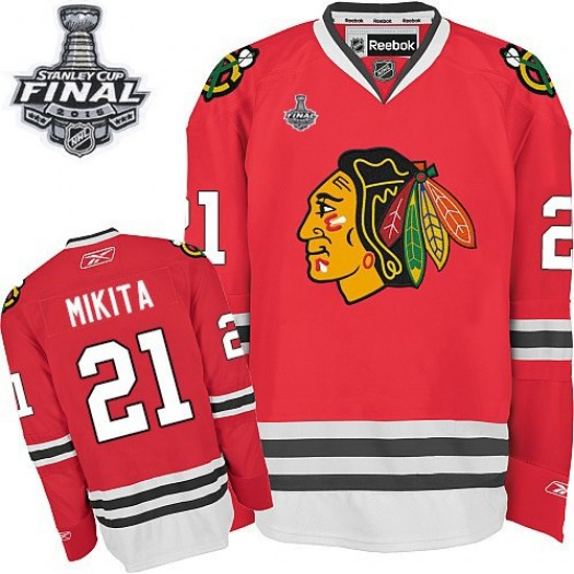 Stan Mikita Chicago Blackhawks Men's Reebok Authentic Red Home 2015 Stanley Cup Patch Jersey