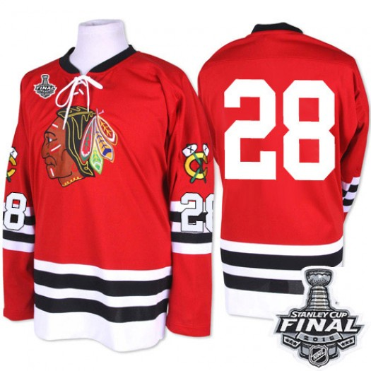Steve Larmer Chicago Blackhawks Men's Mitchell and Ness Premier Red 1960-61 Throwback 2015 Stanley Cup Patch Jersey