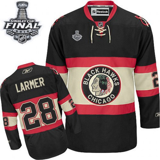 Steve Larmer Chicago Blackhawks Men's Reebok Authentic Black New Third 2015 Stanley Cup Patch Jersey