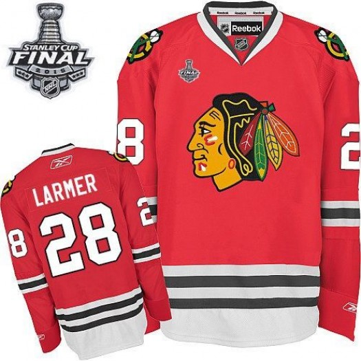 Steve Larmer Chicago Blackhawks Men's Reebok Authentic Red Home 2015 Stanley Cup Patch Jersey