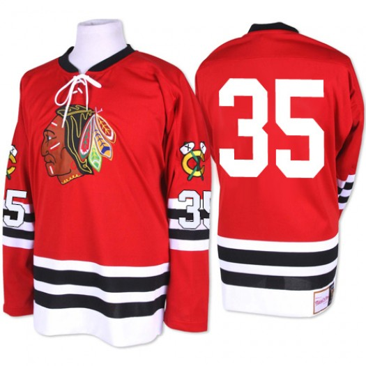 Tony Esposito Chicago Blackhawks Men's Mitchell and Ness Authentic Red 1960-61 Throwback Jersey