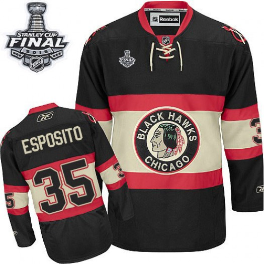 Tony Esposito Chicago Blackhawks Men's Reebok Authentic Black New Third 2015 Stanley Cup Patch Jersey