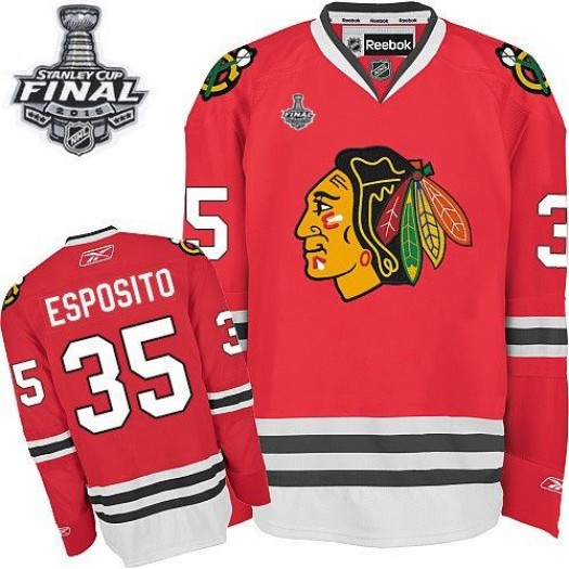 Tony Esposito Chicago Blackhawks Men's Reebok Authentic Red Home 2015 Stanley Cup Patch Jersey
