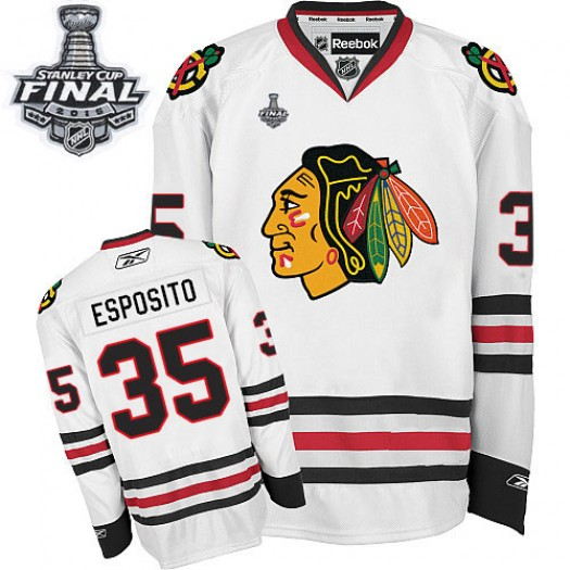 Tony Esposito Chicago Blackhawks Men's Reebok Authentic White Away 2015 Stanley Cup Patch Jersey