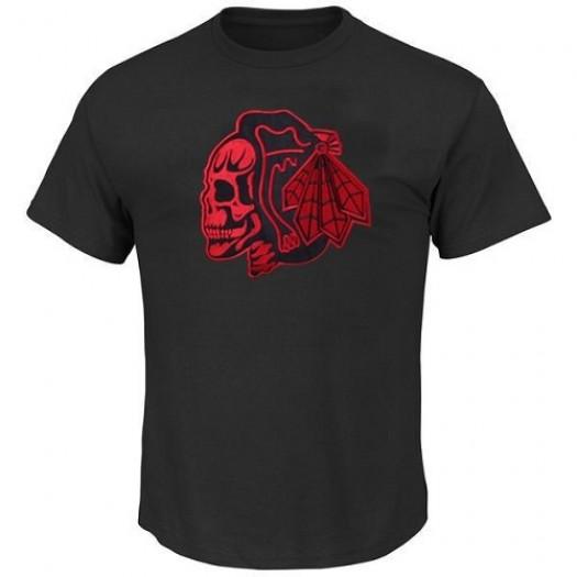 Chicago Blackhawks Men's Black/Red T-Shirts Skull
