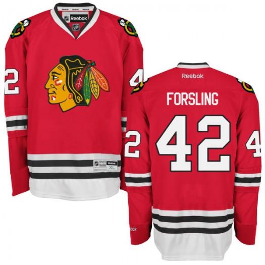 Gustav Forsling Chicago Blackhawks Men's Reebok Premier Red Home Jersey