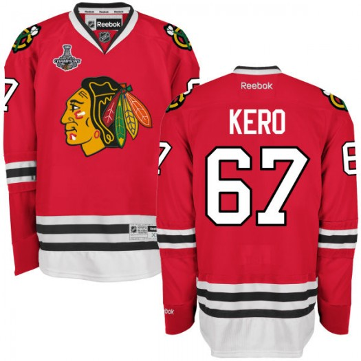 Tanner Kero Chicago Blackhawks Men's Reebok Premier Red 2015 Stanley Cup Champions Home Jersey