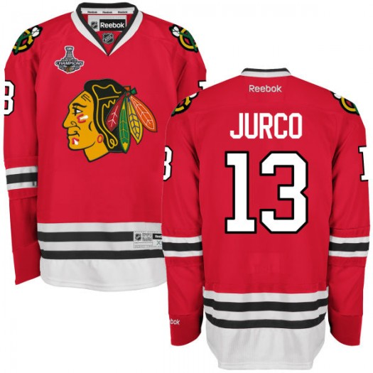 Tomas Jurco Chicago Blackhawks Men's Reebok Premier Red 2015 Stanley Cup Champions Home Jersey