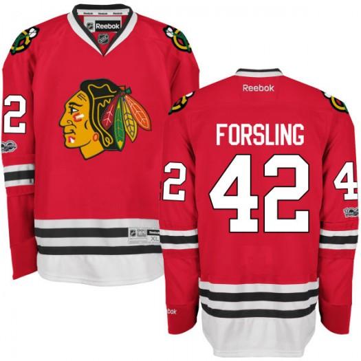 Gustav Forsling Chicago Blackhawks Men's Reebok Premier Red Home Centennial Patch Jersey