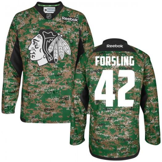 Gustav Forsling Chicago Blackhawks Men's Reebok Authentic Camo Digital Veteran's Day Practice Jersey