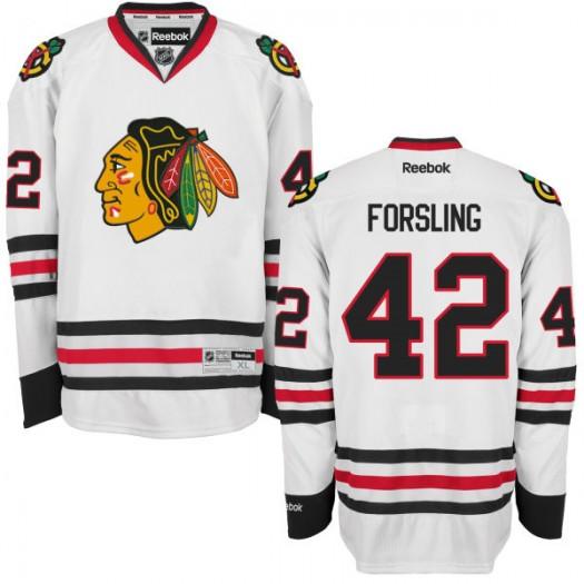 Gustav Forsling Chicago Blackhawks Men's Reebok Authentic White Away Jersey