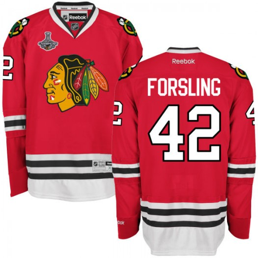 Gustav Forsling Chicago Blackhawks Men's Reebok Authentic Red 2015 Stanley Cup Champions Home Jersey