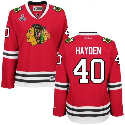 John Hayden Chicago Blackhawks Women's Reebok Replica Red 2015 Stanley Cup Champions Jersey