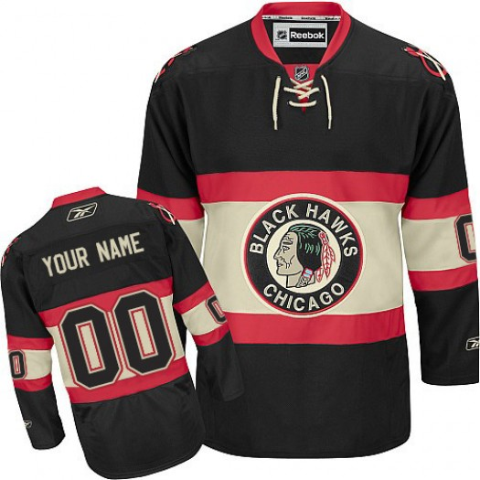 Men's Reebok Chicago Blackhawks Customized Premier Black New Third Jersey