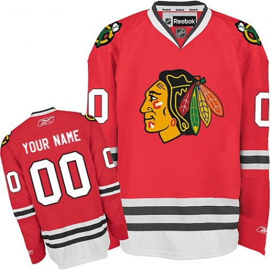 Men's Reebok Chicago Blackhawks Customized Premier Red Home Jersey