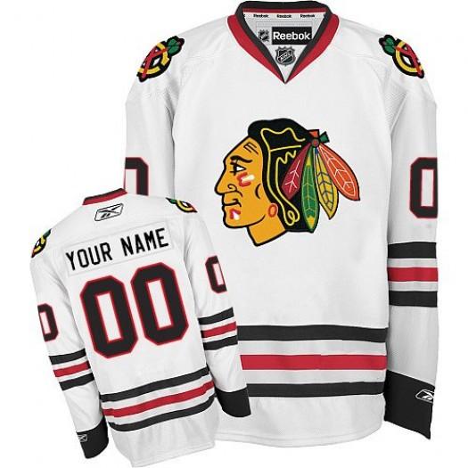 Men's Reebok Chicago Blackhawks Customized Premier White Away Jersey