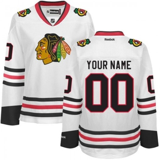 Women's Reebok Chicago Blackhawks Customized Premier White Away Jersey