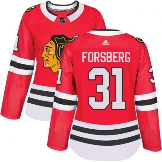 Anton Forsberg Chicago Blackhawks Women's Adidas Authentic Red Home Jersey