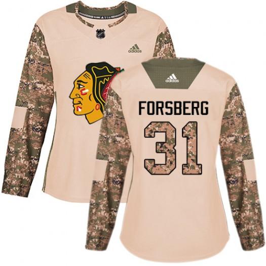 Anton Forsberg Chicago Blackhawks Women's Adidas Premier White Away Jersey