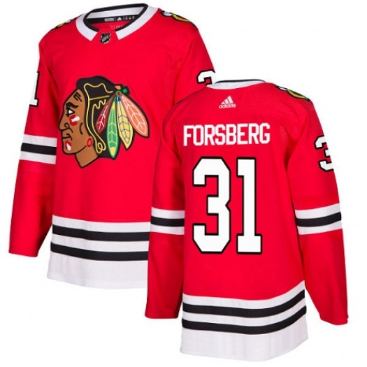 Anton Forsberg Chicago Blackhawks Youth Adidas Authentic Red Home Jersey