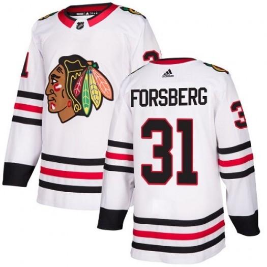 Anton Forsberg Chicago Blackhawks Youth Adidas Authentic White Away Jersey