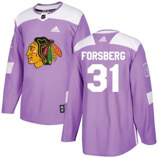 Anton Forsberg Chicago Blackhawks Men's Adidas Authentic Purple Fights Cancer Practice Jersey