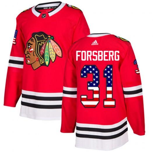 Anton Forsberg Chicago Blackhawks Men's Adidas Authentic Red USA Flag Fashion Jersey