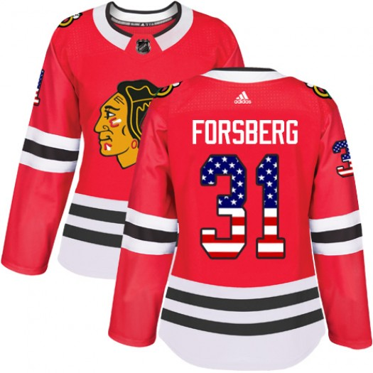 Anton Forsberg Chicago Blackhawks Women's Adidas Authentic Red USA Flag Fashion Jersey