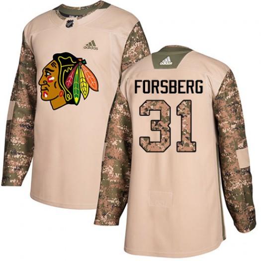 Anton Forsberg Chicago Blackhawks Men's Adidas Authentic Camo Veterans Day Practice Jersey