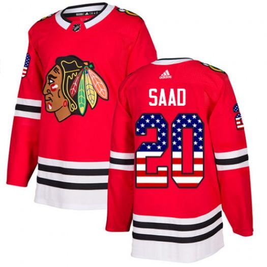 Brandon Saad Chicago Blackhawks Men's Adidas Authentic Red USA Flag Fashion Jersey