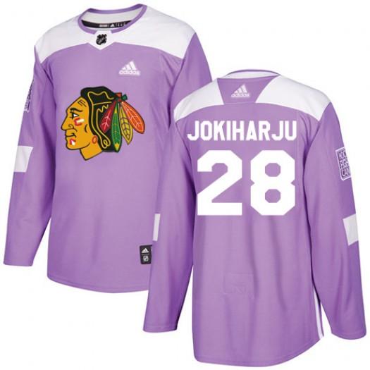 Henri Jokiharju Chicago Blackhawks Men's Adidas Authentic Purple Fights Cancer Practice Jersey