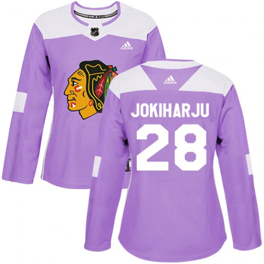 Henri Jokiharju Chicago Blackhawks Women's Adidas Authentic Purple Fights Cancer Practice Jersey