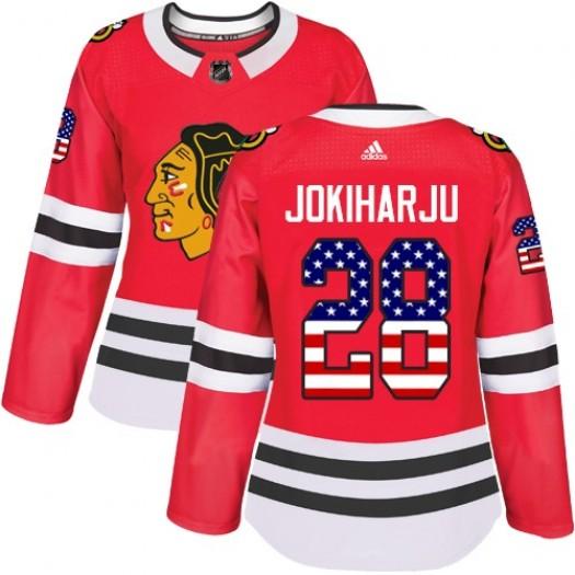 Henri Jokiharju Chicago Blackhawks Women's Adidas Authentic Red USA Flag Fashion Jersey
