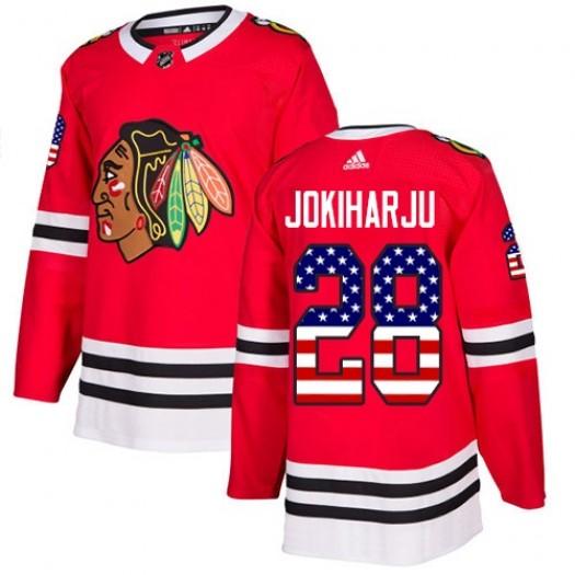 Henri Jokiharju Chicago Blackhawks Youth Adidas Authentic Red USA Flag Fashion Jersey