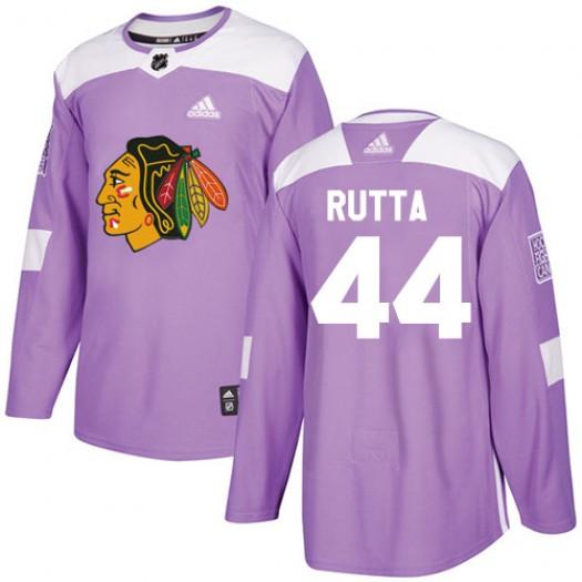 Jan Rutta Chicago Blackhawks Men's Adidas Authentic Purple Fights Cancer Practice Jersey