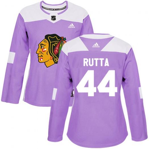 Jan Rutta Chicago Blackhawks Women's Adidas Authentic Purple Fights Cancer Practice Jersey