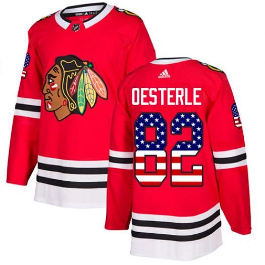 Jordan Oesterle Chicago Blackhawks Youth Adidas Authentic Red USA Flag Fashion Jersey