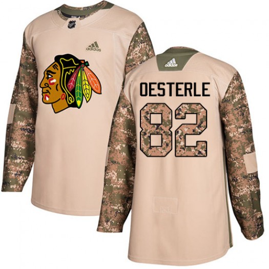Jordan Oesterle Chicago Blackhawks Men's Adidas Authentic Camo Veterans Day Practice Jersey