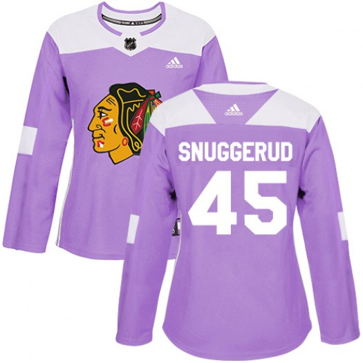 Luc Snuggerud Chicago Blackhawks Women's Adidas Authentic Purple Fights Cancer Practice Jersey