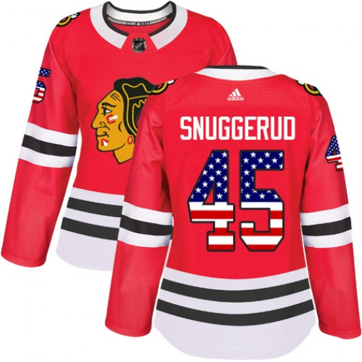Luc Snuggerud Chicago Blackhawks Women's Adidas Authentic Red USA Flag Fashion Jersey