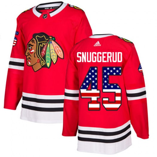 Luc Snuggerud Chicago Blackhawks Youth Adidas Authentic Red USA Flag Fashion Jersey