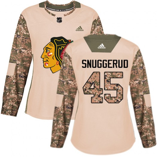 Luc Snuggerud Chicago Blackhawks Women's Adidas Authentic Camo Veterans Day Practice Jersey
