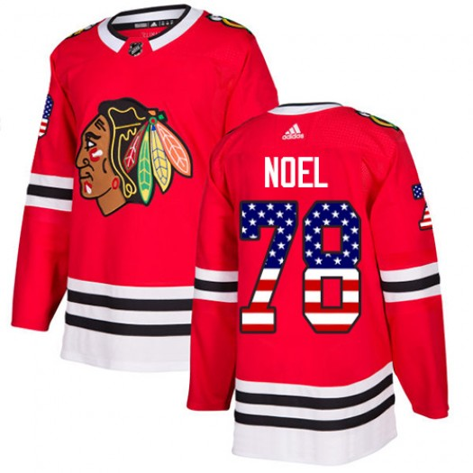 Nathan Noel Chicago Blackhawks Men's Adidas Authentic Red USA Flag Fashion Jersey