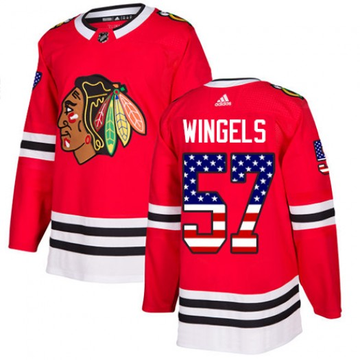 Tommy Wingels Chicago Blackhawks Youth Adidas Authentic Red USA Flag Fashion Jersey
